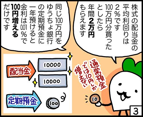 4コマ漫画:配当利回りと預金金利3